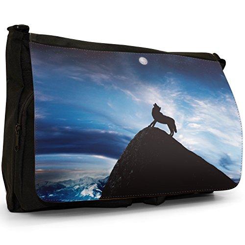 Lupo che ulula alla luna piena grandi classiche nero borsa a tracolla tela, scuola/Borsa Per Laptop Blue