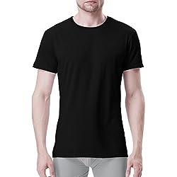 Genuwin Camiseta Para Hombres de Manga Corta, Camisetas Interiores Crew Neck de Fibra de Bambú Rayón (Tejido de Origen Natural), Pack de 3 (S, Negro)