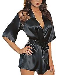 HX fashion Pijamas Mujer Bata Seda De Imitación Elegante Sencillos Diario con Encaje Espalda Descubierta Corto