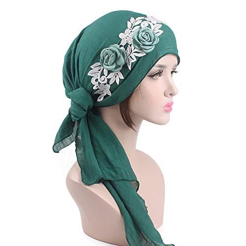 (CHIRORO Damen Blumen Kopftuch Baumwolle Long Tail Turban Hut Muslimischer Bandana Chemo Cap Stirnband Schal Headwrap Kopfbedeckung Für Krebs, Haarausfall, Schlaf, Grün)