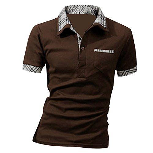 Boom Fashion Herren Poloshirt Kurzarm Slim-Fit kontrast Polohemd (Kragen-kurzarm-polo-shirt Kontrast)
