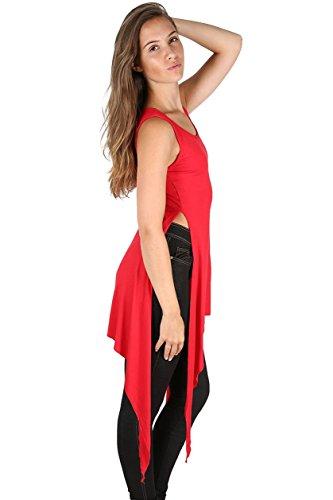 Oops Outlet - Femmes - Haut / robe mi-longue ourlet roulottéévasé trapèze fente double taille haute grande taille Rouge