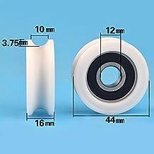 12 * 44 * 16 mm, U Groove rueda, 1 cm de diámetro,