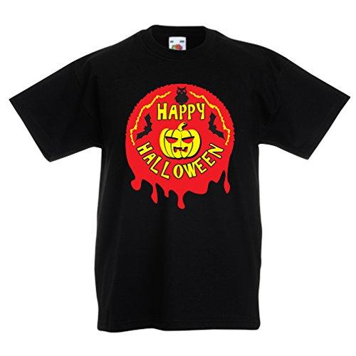 lepni.me Camisas para niños Happy Halloween! - Party Clothes - Pumpkins, Owls, Bats (3-4 Years Negro