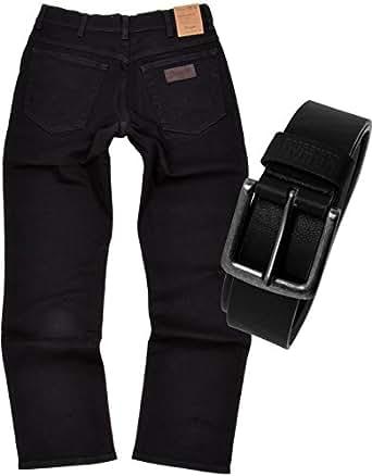 Wrangler TEXAS STRETCH Herren Jeans Regular Fit inkl. Gürtel (W32/L34, Black