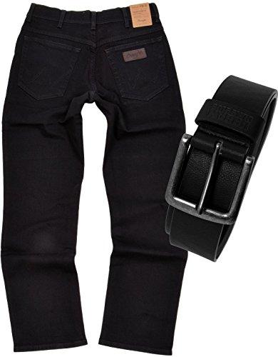 Wrangler TEXAS STRETCH Herren Jeans Regular Fit inkl. Gürtel (W34/L30, Black) (Marken-denim-jeans)