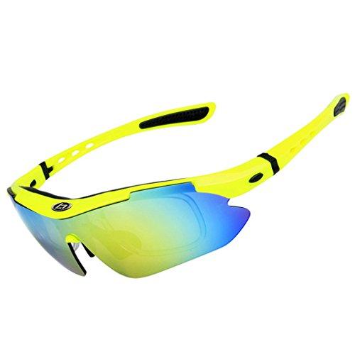 Skysper Gafas de Sol Polarizadas para Hombre Mujer Unisex Anti UV Correr Ciclismo al aire libre Deportes Con 5 lentes intercambiables