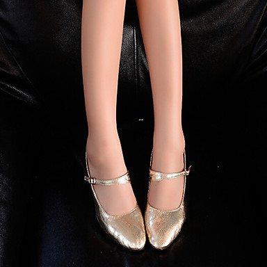 XIAMUO Women's Dance Schuhe Heels LeatherCuban Ferse Gold/Silber Silber