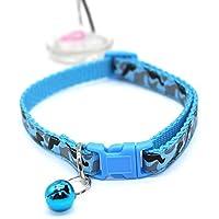 Happy-little-bear Camo Pet Cat Collar Reflectante Ajustable Cat con Cuello de Hebilla elástica Collar Collar para Gatos (Azul)