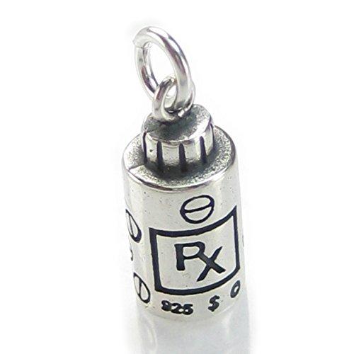 RX bottiglia ciondolo in argento Sterling .925x