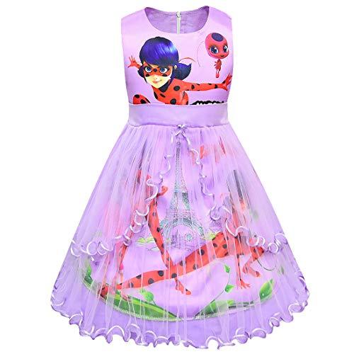 Kleid Marienkäfer Kostüm - QYS Marienkäfer Kostüm Prinzessin Mädchen Kleid Cosplay Party Phantasie Outfits,Purple,110cm
