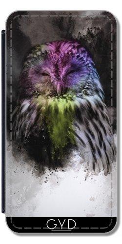Leder Flip Case Tasche Hülle für Apple iPhone 5C - Abstrakte Bunte Eule by Gatterwe Lederoptik