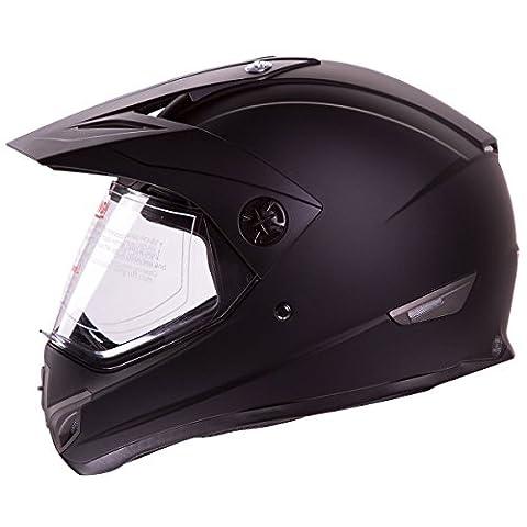 Flat Black Dual Sport Atv Utv Motocross Street Bike Hybrid Helmet DOT (S) by IV2