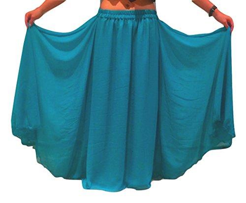 Passend für S / M bis XXL - 6m Bauchtanz Kostüm Rock Wavy Edged UK SIZE 10-24 - Wähle Länge & Farbe (Länge außen Bein 32/33 Zoll, (Größere Kostüme Für Frauen Bauchtanz)