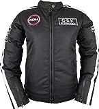 MDM Damen Motorrad Textil Jacke in schwarz mit weißen streifen