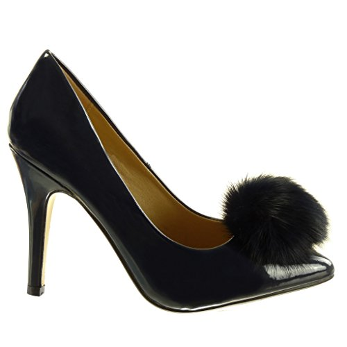 Angkorly Damen Schuhe Pumpe - Stiletto - Dekollete - Bommel - Patent Stiletto High Heel 10 cm Blau