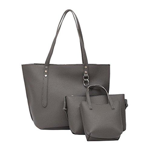 YOUBan Damen Handtasche 3Pcs Frauen Litchi Muster Ledertasche Schultertasche Handtasche Brieftasche Umhängetasche