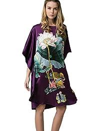 210204cf85 Prettystern - 100% Crepe Seta Kimono Pigiama Camicia da Notte Lingerie Con  Pittura a Pennello