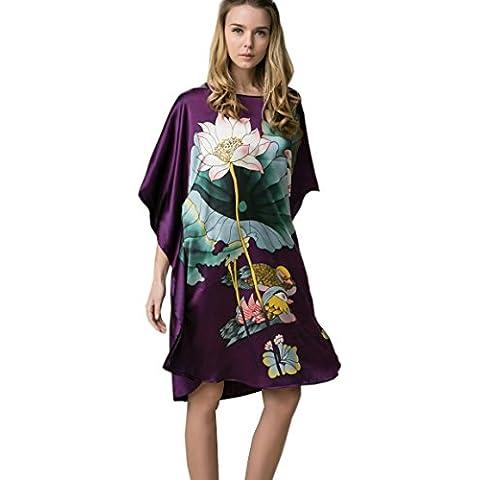 Prettystern - 100% del camisón de satén de seda crepé con kimono pintado a mano la pintura del cepillo del chino