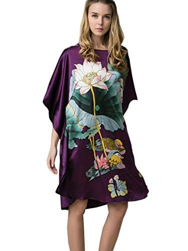 prettystern 100% Seide Kimono Nachtkleid Nachthemd mit Handbemalter Chinesischer Malerei - Ybs201 Violett mit Seerosen Und Enten -