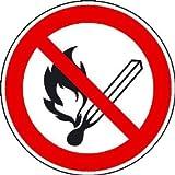 Feuer,offenes Licht und Rauchen verboten Verbotsschild, selbstkl. Folie, 10cm