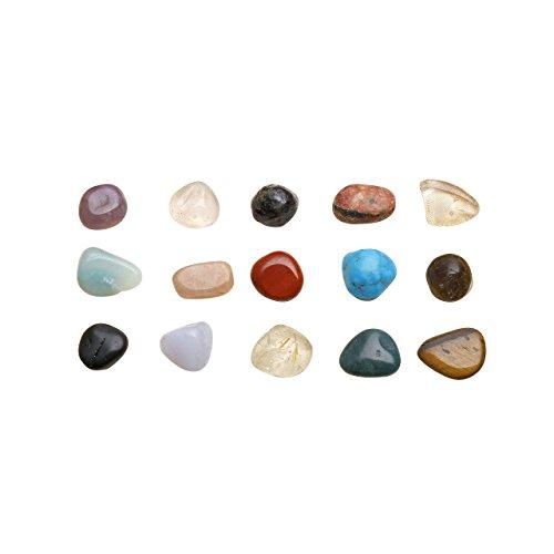 Jovivi, set di pietre naturali, pietre pure; 15/12 pezzi di diverse pietre preziose, pietre tamburo, amorfe, gemme naturali. completo di pietre tamburate da 6,5 a7,7mm