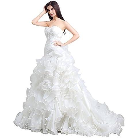 Beauty-Emily Plisado amor sin tirantes del vestido de boda del tizón de la capilla