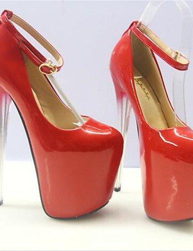 WSS 2016 Chaussures Femme-Habillé-Rouge-Talon Aiguille-Bout Arrondi-Talons-Similicuir red-us9.5-10 / eu41 / uk7.5-8 / cn42