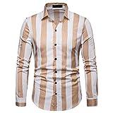 IZHH Herren Business Hemden, Streifen Oversize Shirt Langarm-Streifen-Malerei Plus Size Lange ÄRmel Casual Top Hemd Slim Fit Bluse Shirts(Khaki,M)