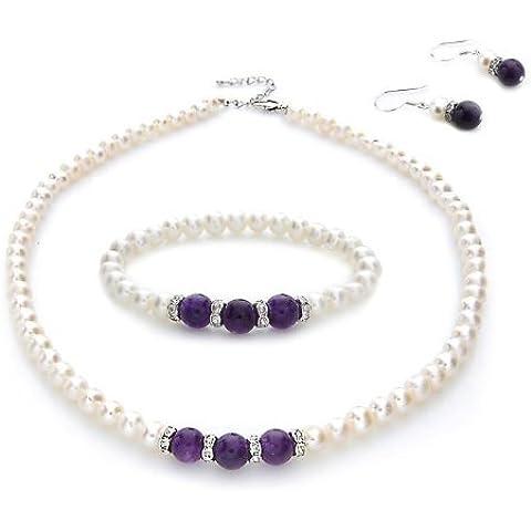 Silvity 8854787 - Set con catenina, orecchini e braccialetto con vere perle d'acqua dolce e vera ametista, 0,6 cm