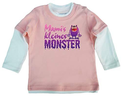 Dirty Fingers, Mami's kleines Monster, Baby Skater Top langärmlig, 6-12m, Rosa-Wei? (Halloween-monster 10 Top)
