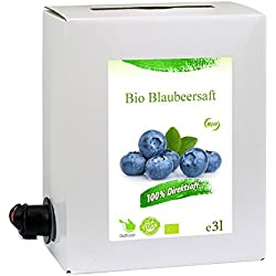 GutFood - 3 Liter Bio Heidelbeersaft - Bio Heidelbeeren Saft in praktischer Bag in Box Packung (1 x 3 l Saftbox) - Muttersaft aus Bio Blaubeeren, Spitzenqualität aus ökologischem Landbau