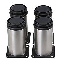 BQLZR Stainless Steel Kitchen Adjustable Feet Round Furniture Leg Pack of 4