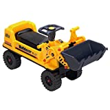 deAO Ride On Toy Bulldozer Truck for Toddlers Sit On Digger with Manual Excavator Scoop, Horn and Under Seat Storage
