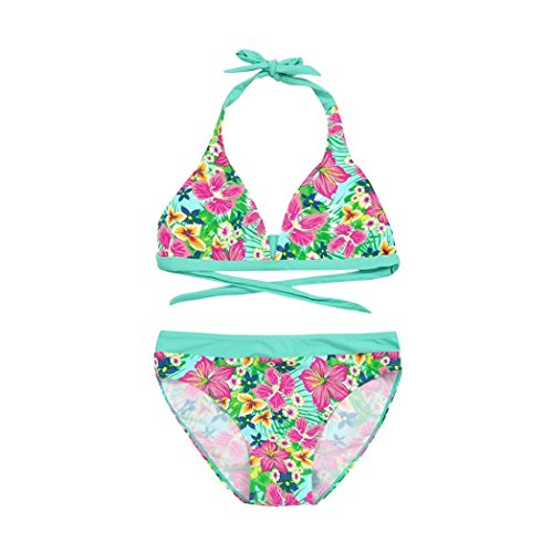 Girls Swimsuit,for 4-10 Years Old,2pcs Infant Kids Sleeveless Floral Print Backless Halter Swimwear Bikini Set Baby Outfits