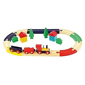 Bino Europe- Pista de Tren en Forma de óvalo, Multicolor (82274)