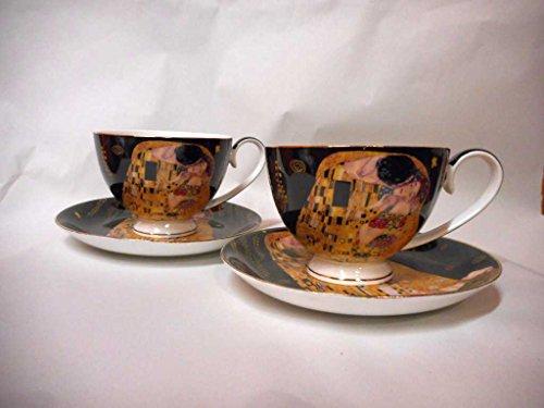 Gustav Klimt Tee- Kaffeetassenset 4teilig 'Der Kuss' Porzellan mit Geschenkbox NEU Limited...