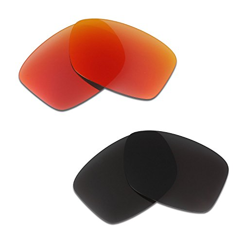 HKUCO Mens Replacement Lenses For Oakley Jupiter Squared Sunglasses Red/Black Polarized