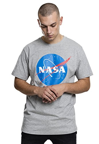 Mister Tee NASA Logo T-Shirt für Herren, Heather Grey, Größe XL (Herren-t-shirt Bomber)