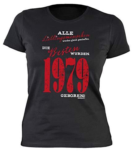 Damen T-Shirt zum 40 Geburtstag Damen T-Shirt Lieblingsmenschen wurden 1979 geboren Geschenk zum 40. Geburtstag 40 Jahre 40-jährige Frau