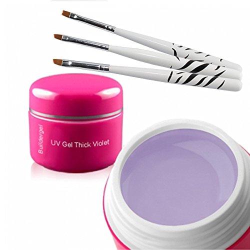 UV Gel de construction – Thick Violet 30 ml + 3 pièces Pinceaux