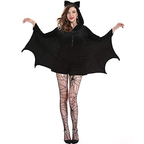 TIKENBST Womens Halloween Kostüme Cosplay Sexy Vampire Woman Batman Kostüm Anzug Big Size,XL