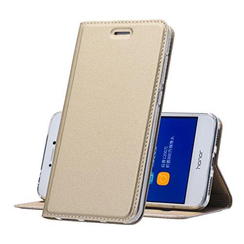 Huawei P8 Lite (2017) Hülle Gold - MUKUTECH Handyhülle [Magnetverschluss] [Ultra Slim] Cover Schutzhülle mit Kartenfach, Ständer und TPU Innenschale, Bookstyle Case für Huawei P8 Lite (2017) (Mikrofaser-hybrid-jacke)