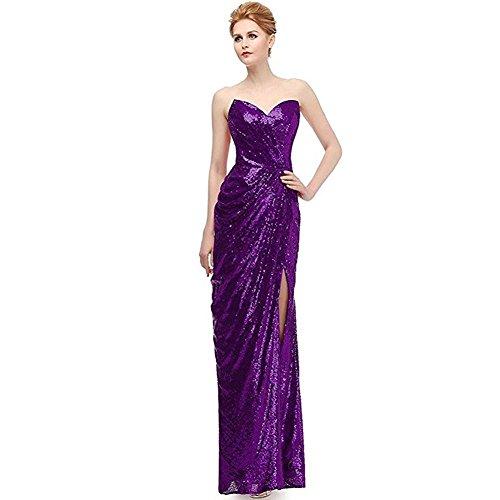 frauen abendkleid braut brautjungfern geburtstag hochzeit prom party ärmellose sequins high gabel kleidung . 8 . (Dress Up Kleidung Mermaid)