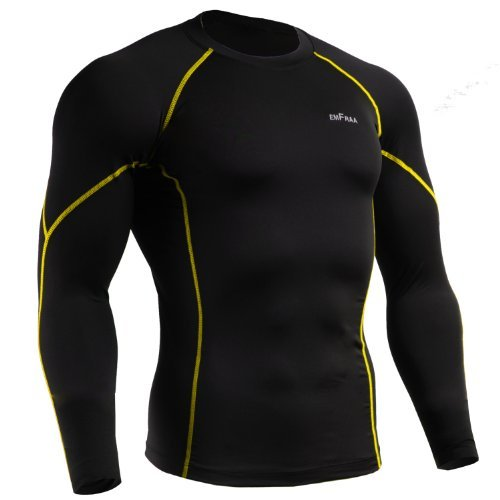 emFraa Men's Skin Tight Baselayer T Shirt Running Top Black-Yellow Long sleeve