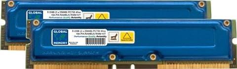 512MB (2 x 256MB) RAMBUS PC700 184-PIN RDRAM RIMM MEMORY RAM KIT FOR PC DESKTOPS/MOTHERBOARDS
