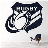 azutura Badge de rugby Sticker Muraux Ballon de rugby Autocollant Mural Sports pour garçons Décoration de maison disponible en 5 dimensions et 25 couleurs Très Petit Noir