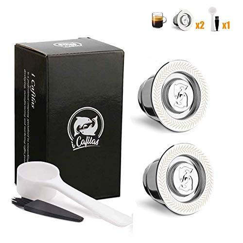 I cafilas nespresso capsule in acciaio inox, compatibili nespresso capsule ricaricabili,2tazze +1 cucchiaio di plastica +1 spazzola