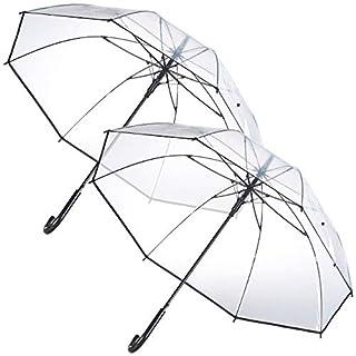 Carlo Milano Schirm: 2er-Set transparente Regenschirme, Stahl-Fiberglas-Gestell, Ø 100 cm (Regenschirm Hochzeit)