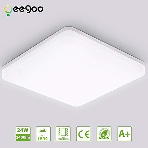 Oeegoo LED Deckenleuchte 24W, 2400LM Flimmerfreie Led Deckenleuchte Bad, IP44 Wasserdicht LED Deckenlampe Für Schlafzimmer, Kinderzimmer, Küchen, Büro 4000K